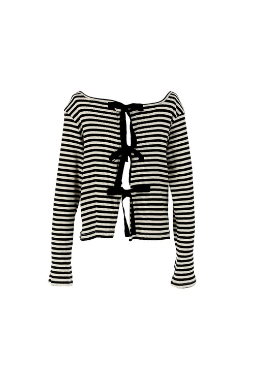 Stripe with ribbon cardigan