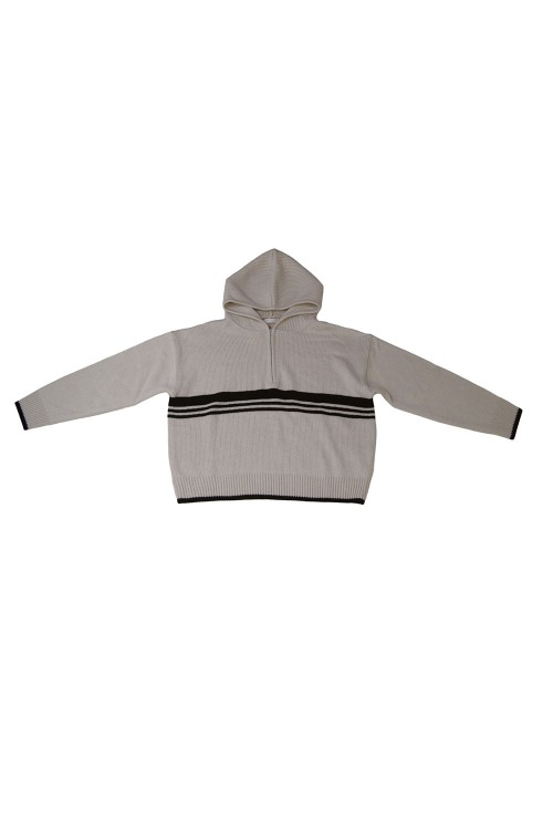 Lined knit hoody_oatmeal