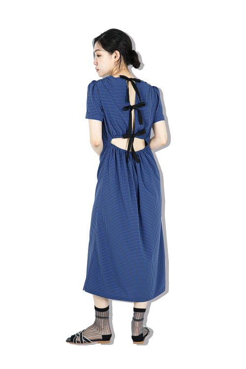 Check with ribbon dress (blue)