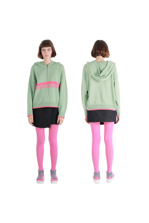 Lined knit hoody_mint