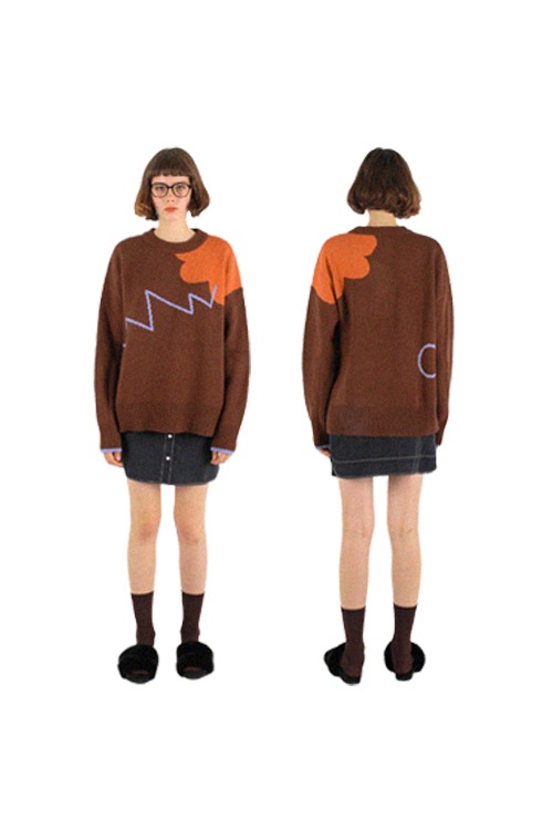 Free drawing knit_brown