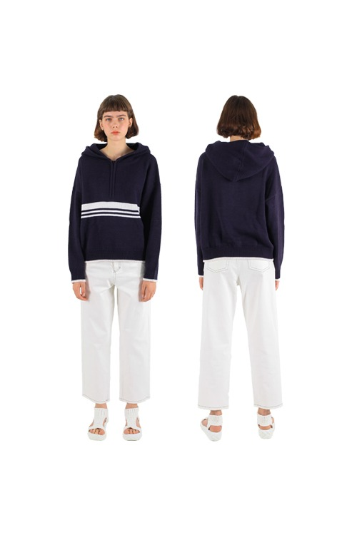 Lined knit hoody_navy