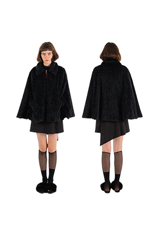 Furry zip-up cape coat_black