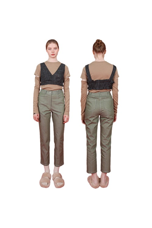 Slim denim pants_khaki