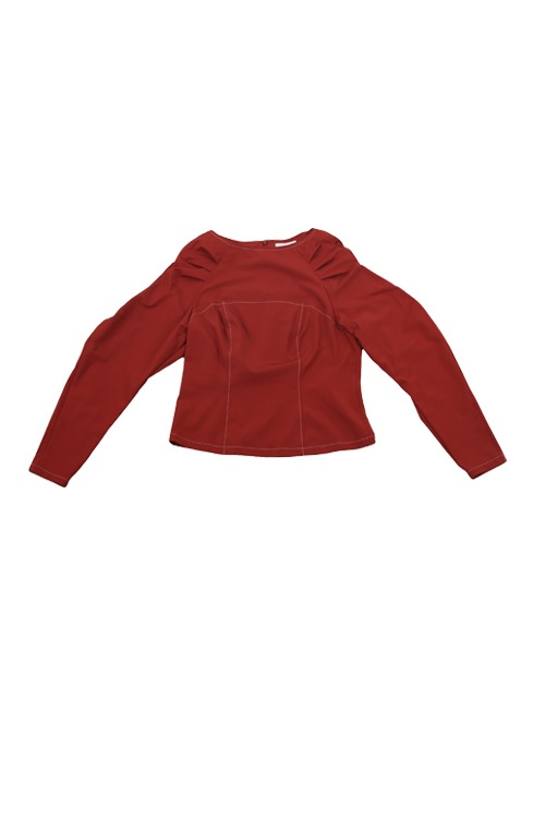 wavy blouse (brick red)
