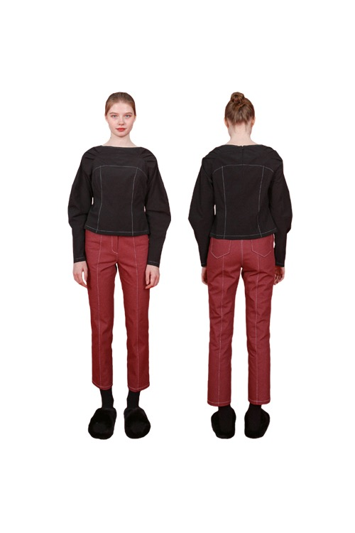 Slim denim pants_burgundy
