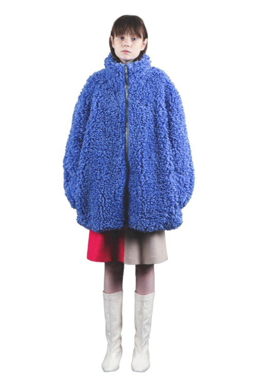 Oversized curly coat_blue
