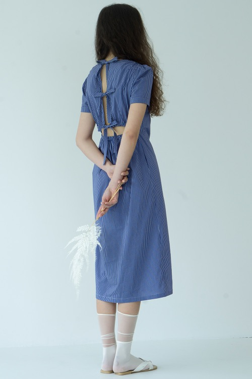 Check with ribbon dress