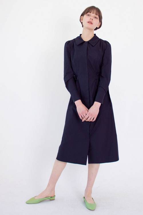 01 Layered shirt dress (navy)