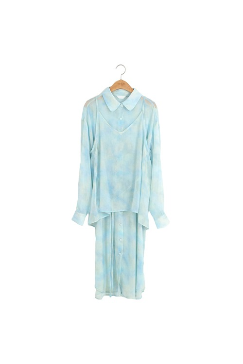 Dyed long blouse set (blue)