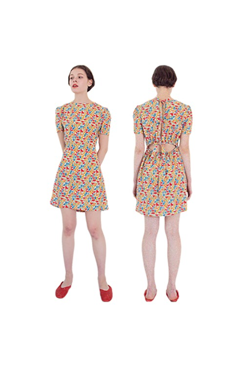 Flower with ribbon dress (red)