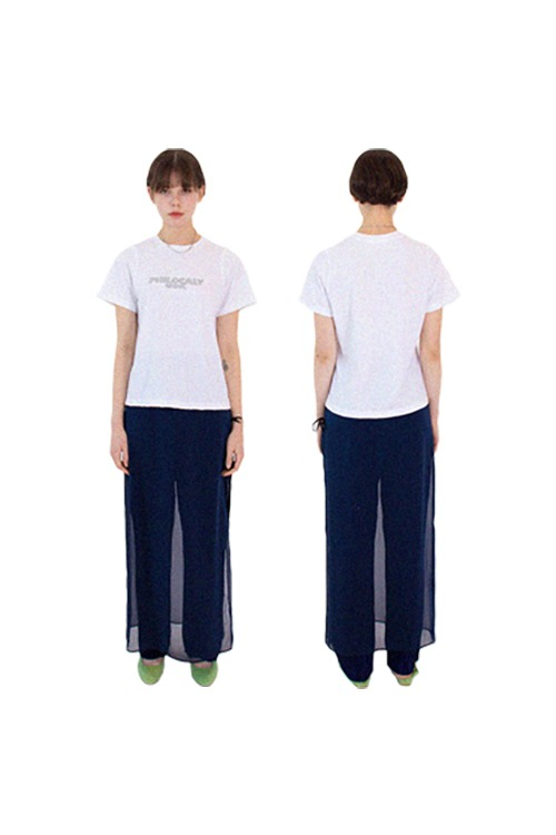 Chiffon wrap pants (navy)