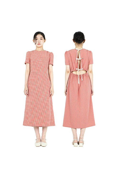 Check with ribbon dress (red)