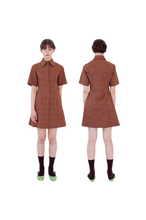 Silhouette check dress (brown)