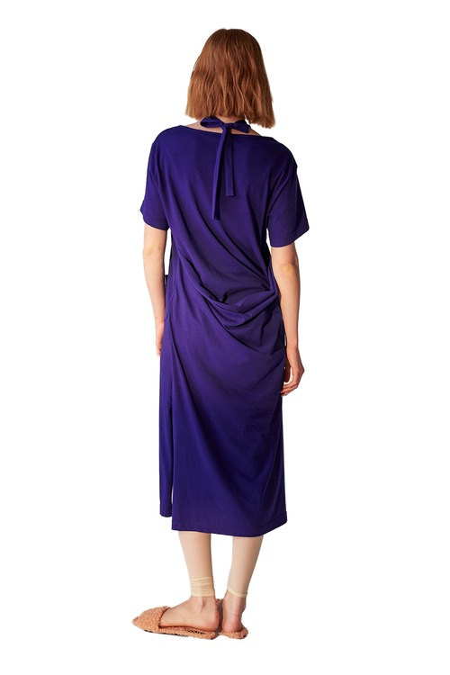 Apron jersey dress_deep blue