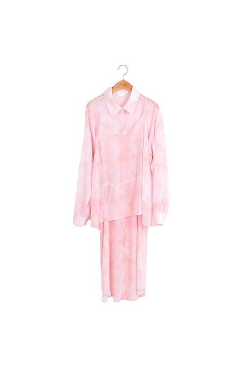 Dyed long blouse set (pink)