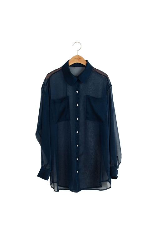 Clear blouse (navy)